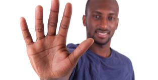 Young African American Man His Hands Palm