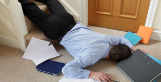 Business man falling down the stairs in the office concept for a